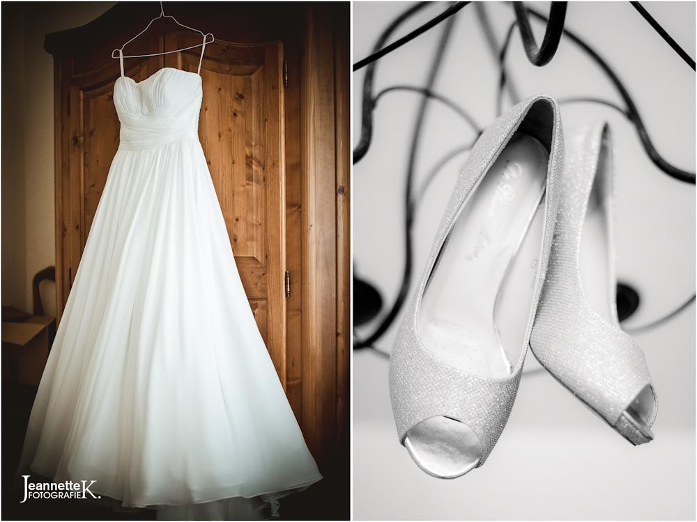 Hochzeitskleid und Hochzeitsschuhe