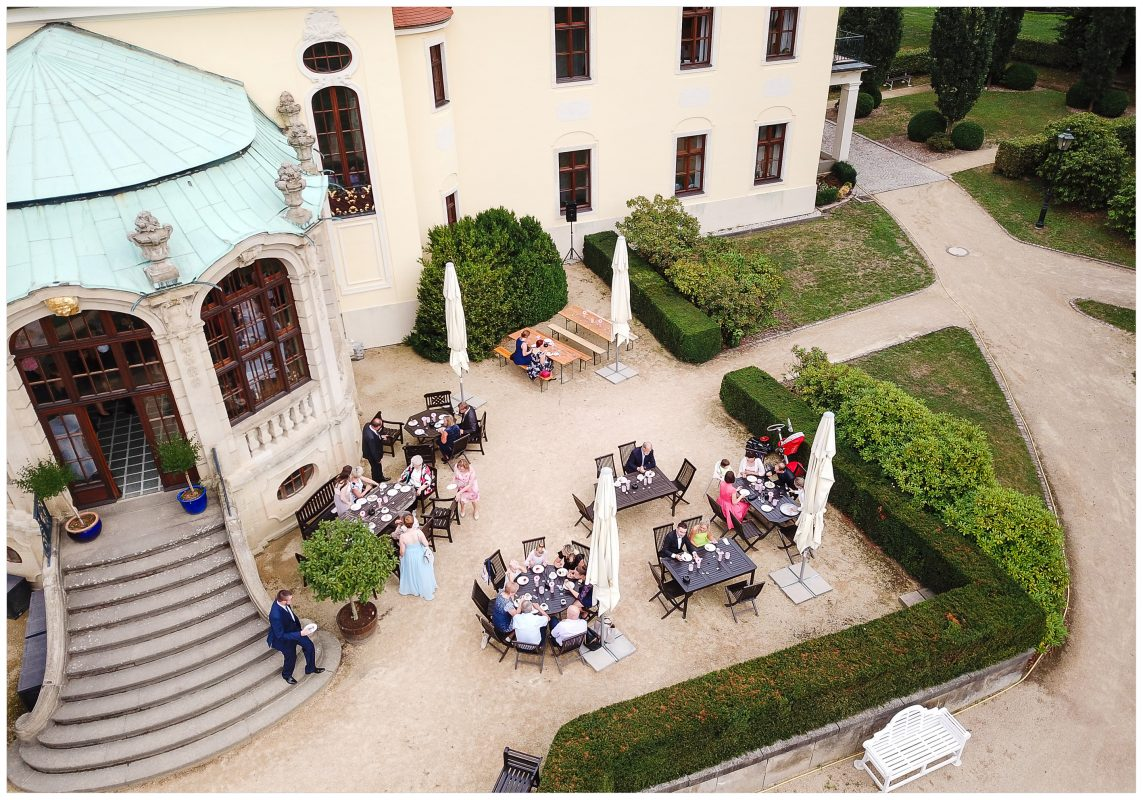 Märchen Schloss Proschwitz von oben